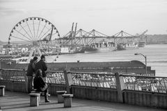 Seattle waterfront onlookers Feb 2015 Royalty Free Stock Images