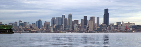 Seattle Washington Stormy Waterfront Panoramic Royalty Free Stock Image