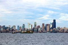 Seattle waterfront Pier 55 and 54. Downtown view from ferry royalty free stock photo