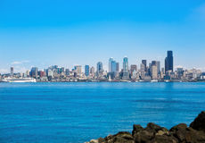 Seattle waterfront Pier 55 and 54. Downtown view Royalty Free Stock Photos