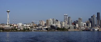 Seattle Waterfront Skyline. Skyline of Seattle, including the famous Space Needle, taken from Puget Sound Royalty Free Stock Image