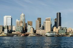 Seattle Waterfront Skyline stock images