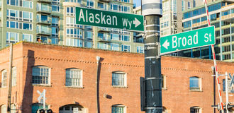 Seattle Waterfront Street Sign. Street Signs At The Seattle Waterfront royalty free stock photo
