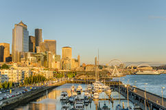 Seattle Waterfront at Sunset Stock Photography