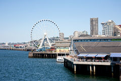 Seattle waterfront. Views from Seattle Ferry Terminal Stock Images