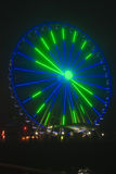 Seattle Wheel Blue Friday Pre Superbowl. Seattle's Great Wheel in Seahawks Colors on Blue Friday stock photos