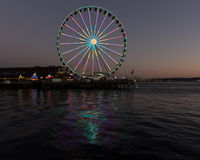 Seattle Wheel at Night Royalty Free Stock Photos