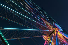 Seattle Wheel at Night. The Seattle Wheel lighted at night stock images