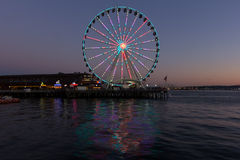Seattle Wheel at sunset Stock Photos