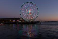 Seattle Wheel at sunset Stock Photos