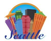 Seattle-Zusammenfassungs-Skyline in der Kreis-Illustration Lizenzfreie Stockfotos