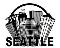 Seattle-Zusammenfassungs-Skyline im Kreis Schwarzweiss Stockbild