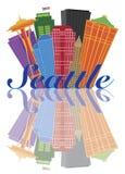 Seattle-Zusammenfassungs-Skyline-Reflexions-Illustration Lizenzfreies Stockfoto