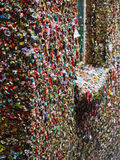 Seattles Gum Wall. The Market Theater Gum Wall is a local landmark in downtown Seattle, in Post Alley under Pike Place Market. Similar to Bubblegum Alley in San Royalty Free Stock Image