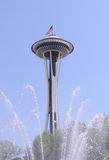 Seattles spaceneedle sprinkler. The iconic seattle spaceneedle as seen from the seattle centers fountain Stock Photos