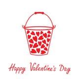 Seau d'amour avec des coeurs à l'intérieur. Valentines heureuses d Photographie stock libre de droits