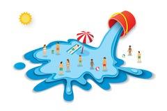 Seau et eau pour l'été Concept de vacances avec des personnes sur bleu Image libre de droits