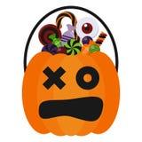 Seau et sucreries de sucrerie de Halloween illustration stock