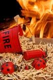 Seau, matchs et flammes de feu Photos stock