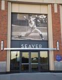 Seaver ingång på det Citi fältet, hem av högre serie i basebolllaget New York Mets Fotografering för Bildbyråer