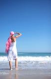 Seaview. Woman on sea looking the seaside with headwear stock photos