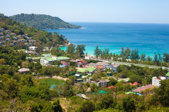 Seaview from above, tropical coast with hotels Royalty Free Stock Photo