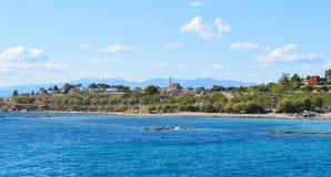 Seaview auf Aegina-Insel in Griechenland, im Juni 2017 Lizenzfreies Stockbild