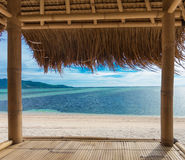 Seaview from bamboo hut. On beach on Gili Air island, off Bali in Indonesia Royalty Free Stock Photos