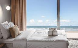 Seaview bedroom Stock Image
