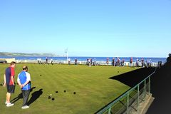 Seaview bowls, Weymouth, Dorset. Weymouth, Dorset, UK. May 14, 2018. Bowlers and spectators enjoying a game of Bowls overlooking the sea at Weymouth in Dorset stock image