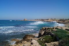 Seaview from Caesarea Israel. Mediterranean Sea Royalty Free Stock Photography