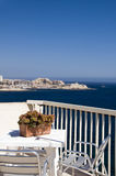 Seaview cafe mediterranean sliema malta. Sliema malta rooftop hotel cafe view of mediterranean coast st. julian's harbor and paceville hotels and development Stock Photography