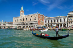 Seaview of Campanile and Doge palace on piazza San Marco. Italy. Europe. Seaview of Campanile and Doge palace on piazza San Marco. Italy. Europe with a gondola royalty free stock photo