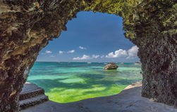Seaview from the cave at Boracay island White Beach of Phils Stock Photos