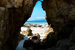 Seaview from the cave. Seaview and sky from the cave Stock Photo