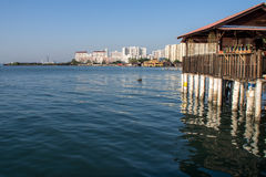 Seaview from the Chew Jetty. A view of the sea and part of Penang island from the Chew Jetty Royalty Free Stock Photography