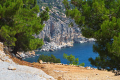 Seaview through the cliffs on the island of Thassos Royalty Free Stock Images