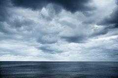 Seaview with cloudy skies Royalty Free Stock Images