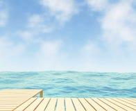 Seaview con il percorso nella rappresentazione 3D Immagine Stock Libera da Diritti