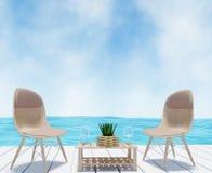 Seaview con la silla para el cielo azul de las vacaciones en la representación 3D stock de ilustración