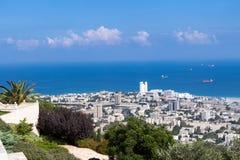 Seaview dalla montagna cityscape haifa Immagine Stock Libera da Diritti