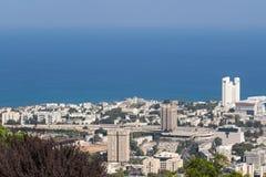 Seaview dalla montagna cityscape haifa Fotografia Stock