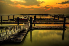 Seaview dans le coucher du soleil Photos libres de droits
