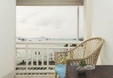 Seaview del balcone Immagine Stock Libera da Diritti