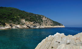 Seaview from Elba Island with rocky cliffs stock image