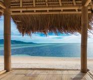 Seaview från bambukoja royaltyfria foton