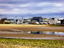 Seaview houses near silver sands beach Connecticut. Sea view houses residential district by charles island at Silver Sands State Park in Milford Connecticut on Royalty Free Stock Photo
