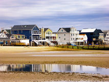 Seaview houses near silver sands beach Connecticut. Sea view houses residential district by charles island at Silver Sands State Park in Milford Connecticut on Stock Images