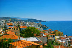 Seaview from Kavala Greece. Scenic city of Kavala in Greece Royalty Free Stock Image