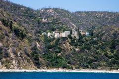 Seaview of Konstamonitou monastery in Athos mount, Halkidiki , Greece Stock Photos